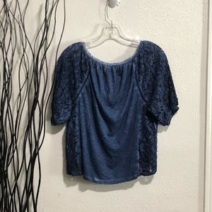 Abercrombie & Fitch Tops - Abercrombie & Fitch Blue Lace Sides Top Size M